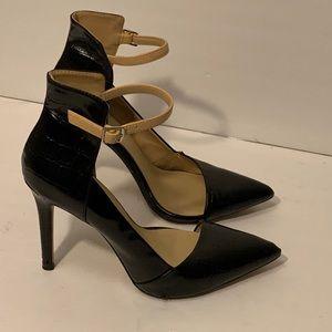 Zara black cream strappy shoes heels size 7